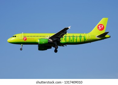 MUNICH / GERMANY - OCTOBER 18, 2017: S7 Airlines Airbus A320 VQ-BRC passenger plane landing at Munich Airport