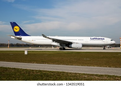 MUNICH / GERMANY - OCTOBER 18, 2017: Lufthansa Airbus A330-300 D-AIKE passenger plane taxiing at Munich Airport