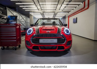 MUNICH, GERMANY - OCTOBER 19, 2016: BMW Welt showroom. Mini John Cooper Works (JCW).