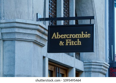Munich, Germany - October 20, 2017:  The boutique of fashionable clothes of the trademark Abercrombie and Fitch in the center of the old city
