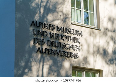 Munich, Germany - October 20, 2017:  The building of the Alpine Museum on the Embankment of the Isar River
