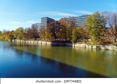 Munich, Germany - October 20, 2017: European Patent Office building and Isar river