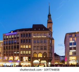 Munich, Germany - October 20, 2017: St Peter's Church gothic cathedral at night, symbol of city