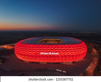 Munich / Germany - October 2018: Allianz Arena, home stadium of Bayern Munich football team