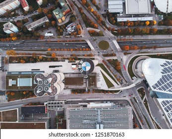 Munich / Germany - October 2018: View on BMW factory in Munich from the sky