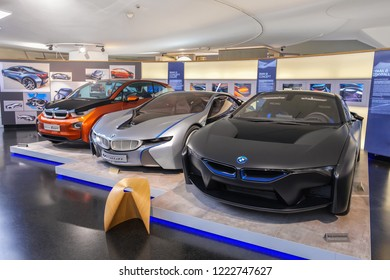 Munich / GERMANY - October 21, 2018: Cars of BMW: i3 concept coupe, i8 concept, i8 Skyfall in the automobile museum of BMW history