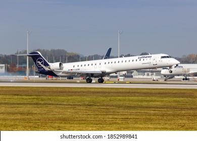 Munich, Germany - October 21, 2020: Lufthansa CityLine Bombardier CRJ-900 airplane at Munich Airport (MUC) in Germany.