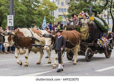 MUNICH, GERMANY - October 3, 2015: Parade on occasion of Octoberfest - world's largest folk festival, held annually in Munich, Bavaria, Germany