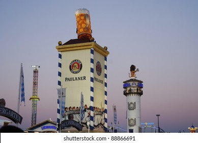 MUNICH, GERMANY - OCTOBER 3: Beer tents on the Oktoberfest in Munich, Germany on October 3, 2011. The Oktoberfest is the biggest beer festival of the world with over 6 million visitors each year.