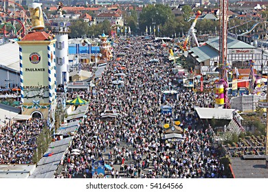 MUNICH, GERMANY - OCTOBER 3: Crowds of people at Oktoberfest on Munich's Theresienwiese on October 3, 2009 in Munich, Germany.