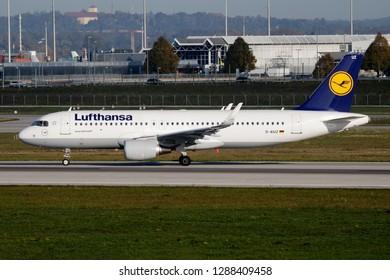 MUNICH / GERMANY - OCTOBER 4, 2017: Lufthansa Airbus A320 D-AIUZ passenger plane taxiing at Munich Airport