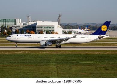 MUNICH / GERMANY - OCTOBER 4, 2017: Lufthansa Airbus A330-300 D-AIKC passenger plane landing at Munich Airport