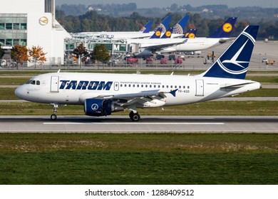 MUNICH / GERMANY - OCTOBER 4, 2017: Tarom Airlines Airbus A319 YR-ASD passenger plane taxiing at Munich Airport