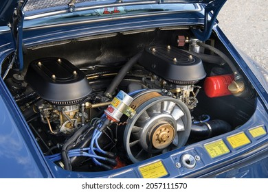 Munich, Germany- October 6, 2021: The engine of a 1969 Porsche 911 T 2.2 Coupe