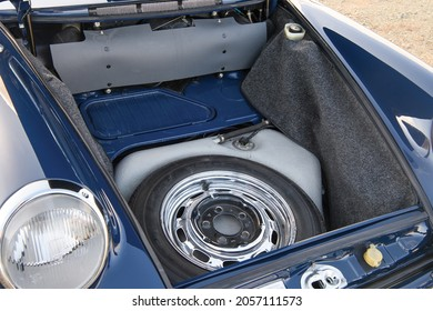 Munich, Germany- October 6, 2021: A spare tire is in The trunk of a 1969 Porsche 911 T 2.2 Coupe