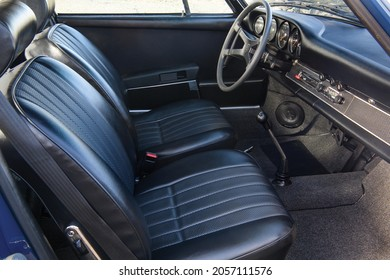 Munich, Germany- October 6, 2021: The cab of a 1969 Porsche 911 T 2.2 Coupe