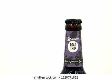 Munich, Germany - October 9 13, 2019: Bottleneck of a Hopfmeister Brazilian Road Trip beer bottle.
