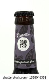 Munich, Germany - October 9, 2019: Bottleneck of a Hopfmeister Brazilian Road Trip beer bottle.