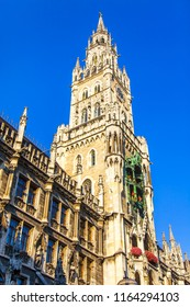 Munich, Germany, on August 16, 2018. Architectural details of the New Town hall (Neues Rathaus). Clock tower