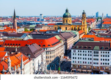 Munich, Germany, on August 16, 2018. A view of Alstadt and city roofs from the survey platform of the New Town hall