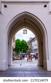 Munich, Germany, on August 16, 2018. Karlstor gate conducting to the old city of Alstadt
