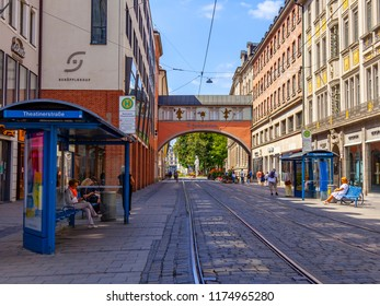 Munich, Germany, on August 16, 2018. Beautiful urban view. People wait for the tram at a stop