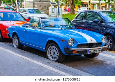 Munich, Germany, on August 16, 2018. The vintage car goes on the city street