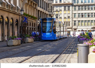 Munich, Germany, on August 16, 2018. The modern high-speed tram goes on the city street