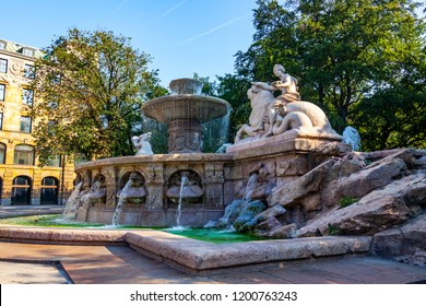 Munich, Germany, on August 16, 2018. The beautiful fountain decorates the city square
