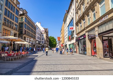Munich, Germany, on August 22, 2018. Beautiful urban view. People go along the street in the pedestrian zone of the old city of Alstadt