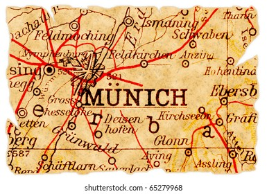 Munich, Germany on an old torn map from 1949, isolated. Part of the old map series.