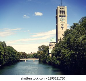 Munich, Germany - Panoramic view of the famous Deutsches Museum on an island of the Isar river