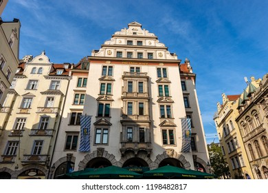 MUNICH, GERMANY - SEPT 6, 2018: The Orlando Haus am Platzl, historic building in downtown of Munich, it takes its name from Orlando di Lasso, famous composer