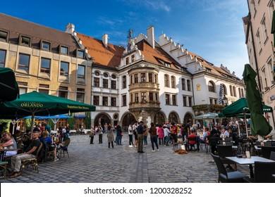 MUNICH, GERMANY - SEPT 6, 2018: Hofbrauhaus am Platzl, ancient beer hall in downtown of Munich, built in 1589 by Bavarian Duke Maximilian I.