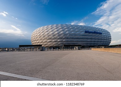 MUNICH, GERMANY - SEPT 7, 2018: Allianz Arena (Fussball Arena Munchen, Schlauchboot), the home football stadium for FC Bayern Munich. Widely known for its exterior of inflated ETFE plastic panels.