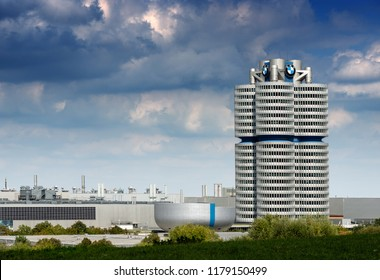 MUNICH, GERMANY - SEPT 8, 2018: The tower of the BMW (BMW-Vierzylinder or BMW-Turm) landmark serving as world headquarters for the Bavarian automaker. Architect, Karl Schwanzer