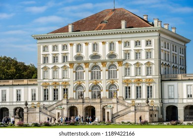 MUNICH, GERMANY - SEPT 8, 2018: Tourists visit the Nymphenburg Palace (Schloss Nymphenburg - Castle of the Nymphs) The palace was the main summer residence of the former rulers of Bavaria