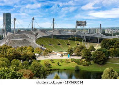 MUNICH, GERMANY - SEPT 8, 2018: Aerial view of the Munich Olympic Stadium (Munchner Olympiastadion 1972) in the Olympic Park (Olympiapark), Bavaria, Germany, Europe