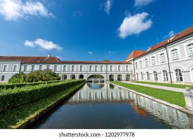 MUNICH, GERMANY - SEPT 8, 2018: Nymphenburg Palace (Schloss Nymphenburg - Castle of the Nymphs) with the artificial canal (Schlossgartenkanal).