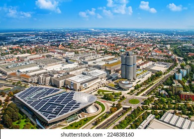 MUNICH, GERMANY - SEPTEMBER 07, 2014: panoramic view of Munich with BMW buildings from Olympic tower September 07, 2014 in Munich, Germany