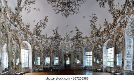MUNICH, GERMANY - SEPTEMBER 10,2011: Ballroom in Nymphenburg Palace, Munich, Germany, Europe