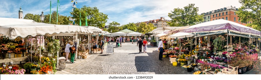 Munich, Germany - September 11: View of Viktualienmarkt a sunny day. It is a daily food market and a square in the center of Munich near Marienplatz on September 11, 2018