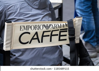 Munich, Germany - SEPTEMBER 15, 2018: Emporio Armani Caffe logo on Emporio Armani's restaurant. Emporio Armani is an international italian clothing company
