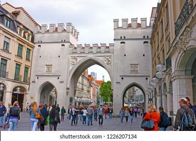 MUNICH, GERMANY, SEPTEMBER 16, 2010: Karlstor gate (Neuhauser Tor) in Munich, Germany