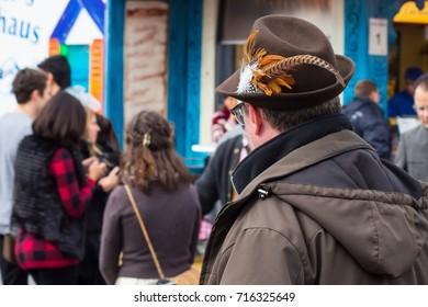 MUNICH, GERMANY - SEPTEMBER 16, 2017: Octoberfest 2017 in Munich, Bavaria, Germany Old-fashioned bavarian man's hat