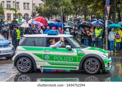 MUNICH, GERMANY - SEPTEMBER 17, 2016: Police car at the annual opening parade of the Oktoberfest in Munich.