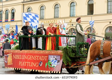 Munich, Germany, September 18, 2016: The Traditional Costume Parade during Octoberfest 2016 in Munich