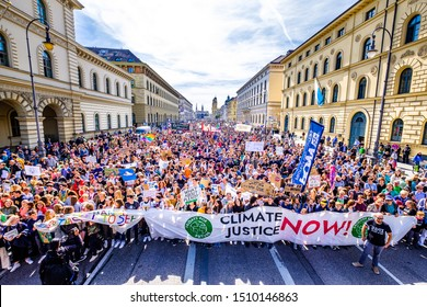 "Munich, Germany - September 20: jubilee of the ""Fridays for Future"" protest - 30.000 participants protesting against climate policy in Munich on September 20,2019"