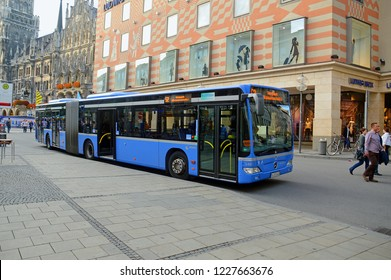 MUNICH, GERMANY - SEPTEMBER, 2013: Regular bus route 52 (MetroBus) on the street of Munich
