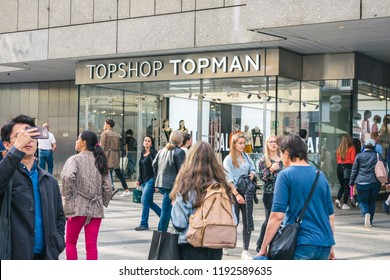 Munich, Germany - September, 2018: Front of Topshop/Topman clothes store in Munich. English brand.
